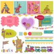 Scrapbook Design Elements - Birthday Party Child Set - in vector — Stock Vector