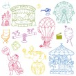 Vector set: Vintage Circus Elements - hand drawn doodles — Stock Vector