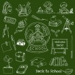 Back to School Doodles - Hand-Drawn Vector Illustration — Stock Vector
