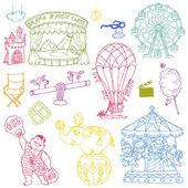 Vector set: Vintage Circus Elements - hand drawn doodles — Stock Vector