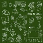 Terug naar school doodles - handgetekende vectorillustratie — Stockvector
