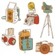 Set of Photo Cameras - hand-drawn doodles in vector — Stockvektor