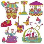 Vector set: Vintage Circus Set - for scrapbook or design element — Stock Vector #12007618