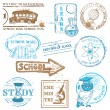 Vector Set of SCHOOL stamps - for design and scrapbook in vector — Stock Vector #12007630