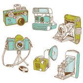 Fotoğraf makinesi - karalamalar çizilmiş vektör kümesi — Stok Vektör