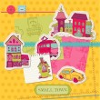 Little Town Scrap - for scrapbooking and design - in vector — Stock Vector