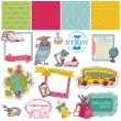 Scrapbook Design Elements -Back to School - for design and scrap - Stock Vector