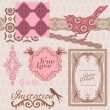 Royalty-Free Stock Vektorfiler: Scrapbook Design Elements - Vintage Tiles and Birds- in vector
