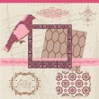 Stock Vector: Scrapbook Design Elements - Vintage Tiles and Birds- in vector