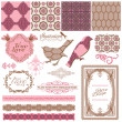 Scrapbook Design Elements - Vintage Tiles and Birds- in vector — Stock Vector