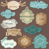 Wedding Vintage Frames and Design Elements - in vector — Stok Vektör