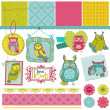 Scrapbook designelement - little owls samling - hand dras - i vector — Stockvektor  #12229621