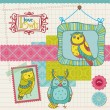 Scrapbook design element - little owls collection - hand dras — Stockvektor  #12229677