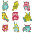 Various Owl Doodle Collection - hand drawn - in vector — Stock Vector #12229692