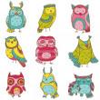 Chouette divers doodle collection - dessinés à la main - vecteur — Vecteur