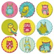 Scrapbook Design Elements - Tags with Cute Owls - in vector — Stock Vector