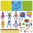 Scrapbook Design Elements - Cute Little Robots Collection — Stock Vector
