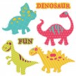 Scrapbook Design Elements - Сute Dinosaur Set - in vector — Vektorgrafik
