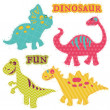 Scrapbook Design Elements - Сute Dinosaur Set - in vector — Stock Vector