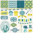Scrapbook Design Elements -Vintage Gentlemen Accessories Set - in vector — Stock Vector