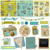 Scrapbook Design Elements - Vintage Photo Camera Scrap - in vec — Stok Vektör
