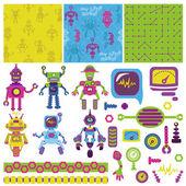 Scrapbook Design Elements - Cute Little Robots Collection — Stock Vector