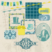 Scrapbook Design Elements - Gentlemen Accessories doodle collection - hand drawn in vector — Stock Vector