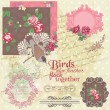scrapbook design elements - vintage flowers and birds- in vector — Stock Vector