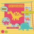 Scrapbook Design Elements - Baby Dinosaur Set - in vector — Stock Vector