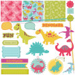 Scrapbook Design Elements - Baby Dinosaur Set - in vector — Image vectorielle