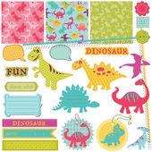Conjunto de elementos de diseño de bloc de notas - bebé dinosaurio - en vector — Vector de stock