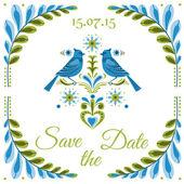 Pocztówka ptak starodawny zaproszenie - na ślub, zaproszenia — Wektor stockowy