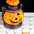 Stock Photo: Halloween Lantern on calendar