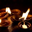 Stockfoto: Burning candles on altar in buddhist temple, Sri Lanka