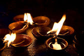 Burning candles on altar in buddhist temple, Sri Lanka — Stock Photo