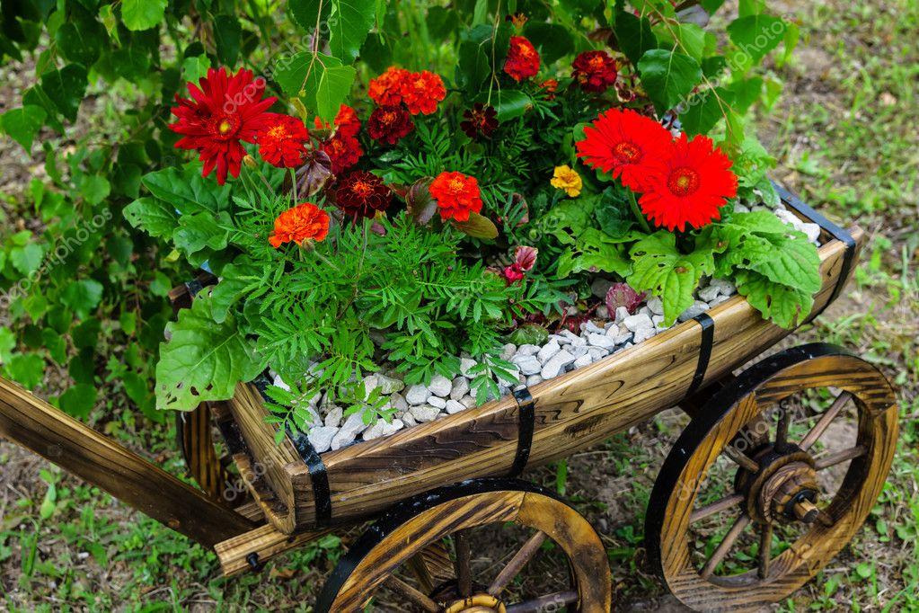 cultivo rosas jardim:Antigo carrinho de jardim com flores — Fotografias de Stock