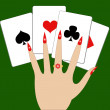 Hand with playing cards — Imagen vectorial