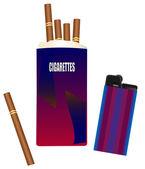 包香烟与打火机 — 图库矢量图片