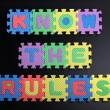 "Stock Photo: ""Know rules"" on blackboard"