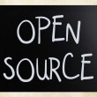 """Open source"" handwritten with white chalk on a blackboard — Stok fotoğraf"