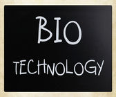 """Bio technology"" handwritten with white chalk on a blackboard — Stock Photo"