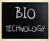 """""""Bio technology"""" handwritten with white chalk on a blackboard — ストック写真"""