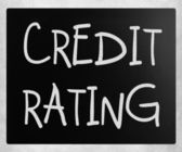 """Credit rating"" handwritten with white chalk on a blackboard — Foto Stock"