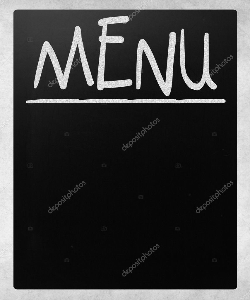 Blank blackboard with white chalk smudges used a restaurant menu. — Stock Photo #11604282