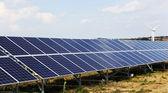 Solar panels at a solar power plant — Stock Photo