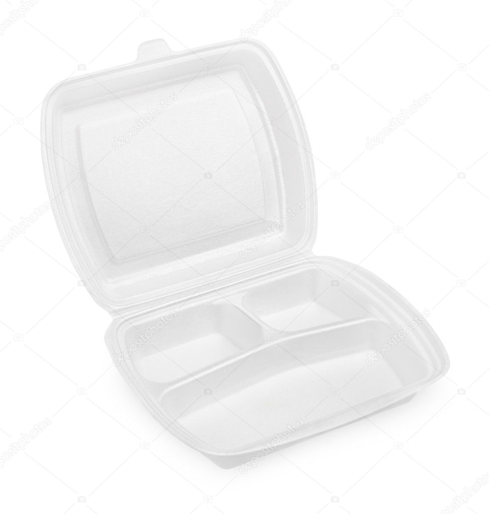 Empty styrofoam meal box isolated on white background — Stok fotoğraf #10980691
