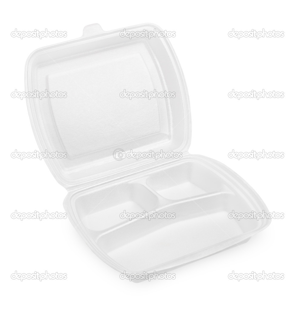 Empty styrofoam meal box isolated on white background  Stockfoto #10980691