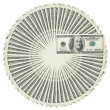 Dollar bank notes circle stack — Foto Stock