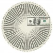 Dollar bank notes circle stack — 图库照片