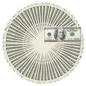 Dollar bank notes circle stack — Stock Photo
